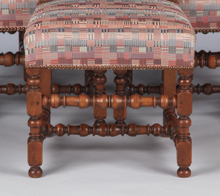 Set of 6 French Louis XIII Style Upholstered Walnut Chairs, 1920s For Sale 1