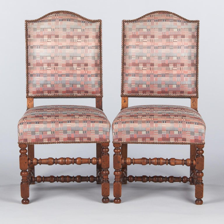 Set of 6 French Louis XIII Style Upholstered Walnut Chairs, 1920s For Sale 2