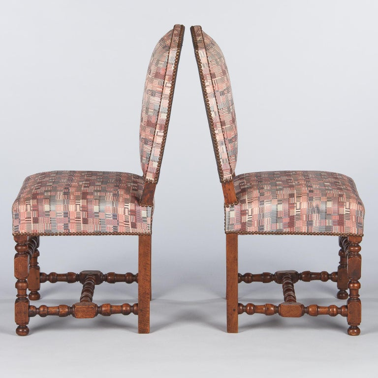 Set of 6 French Louis XIII Style Upholstered Walnut Chairs, 1920s For Sale 3