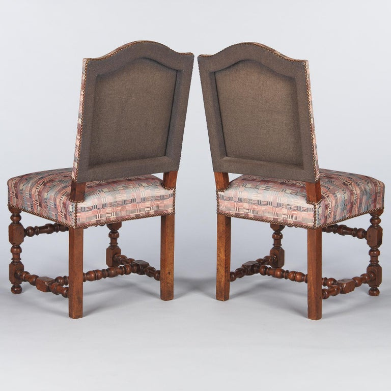 Set of 6 French Louis XIII Style Upholstered Walnut Chairs, 1920s For Sale 4