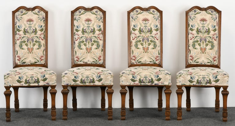 American Set of 6 French Louis XIV Dining Chairs by Auffray Furniture, 1980s For Sale