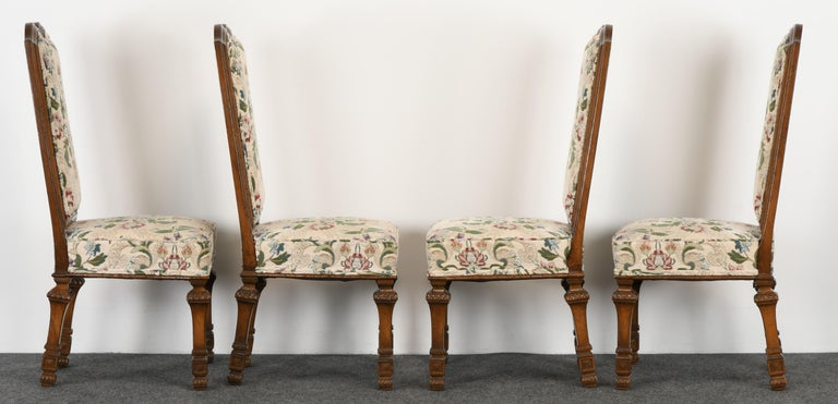Late 20th Century Set of 6 French Louis XIV Dining Chairs by Auffray Furniture, 1980s For Sale