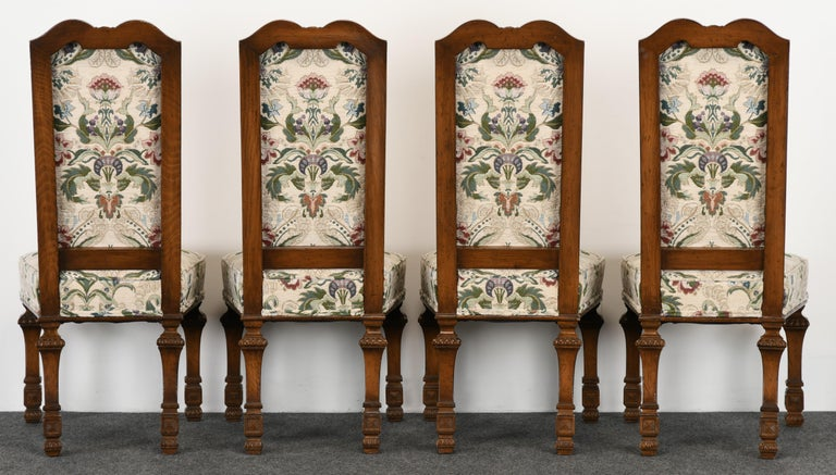 Upholstery Set of 6 French Louis XIV Dining Chairs by Auffray Furniture, 1980s For Sale