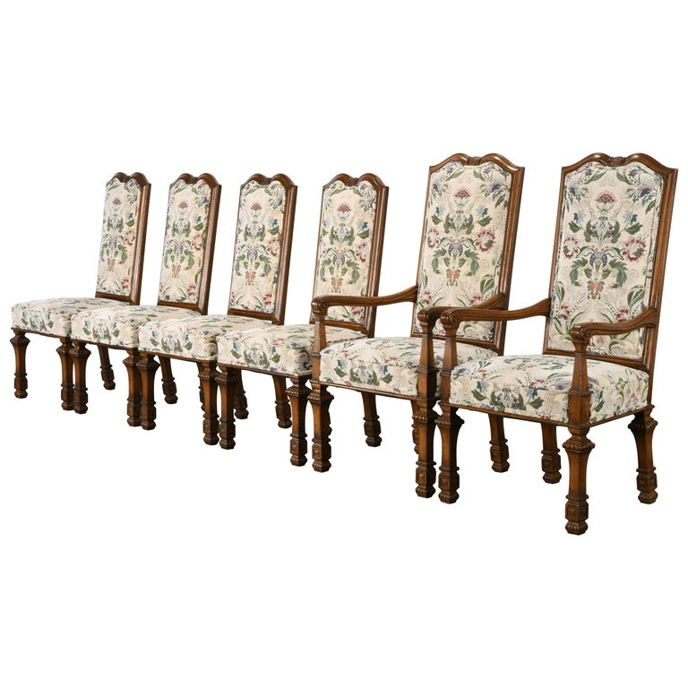 Set of 6 French Louis XIV Dining Chairs by Auffray Furniture, 1980s For Sale