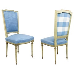 Set of 6 French Louis XVI Blue Side Chairs