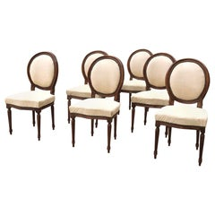 Set of 6 French Louis XVI Fruitwood Dining Chairs