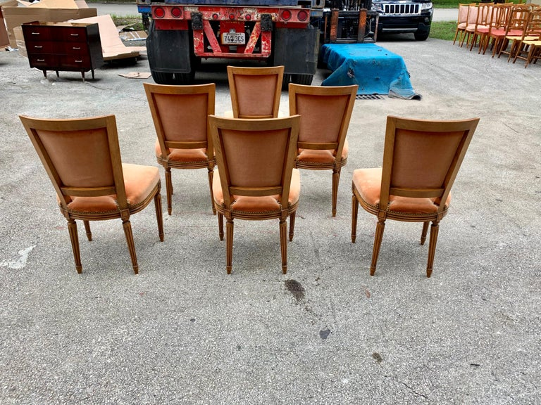 Set of 6 French Louis Xvl Solid Mahogany Dining Chairs, 1910s For Sale 4