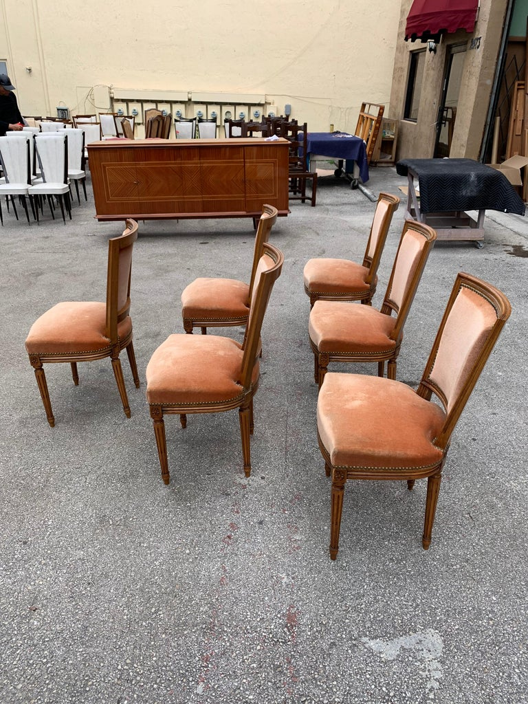Set of 6 French Louis Xvl Solid Mahogany Dining Chairs, 1910s For Sale 3