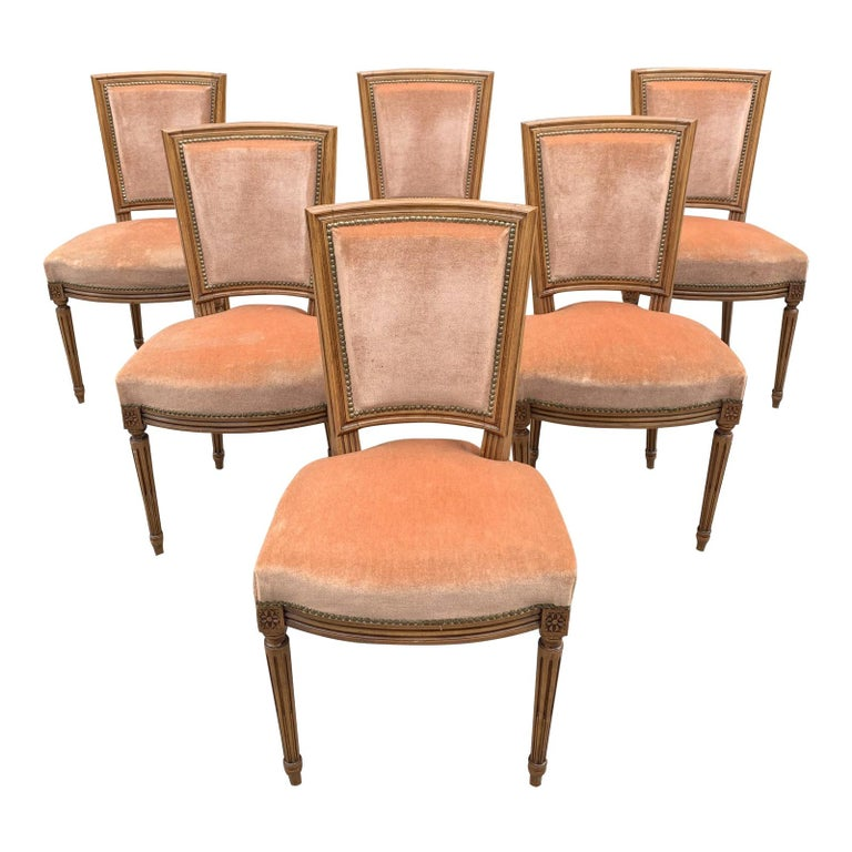 Set of 6 French Louis Xvl Solid Mahogany Dining Chairs, 1910s For Sale