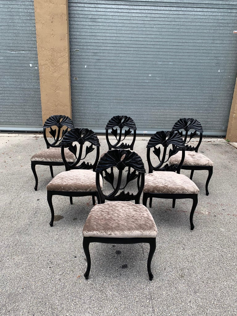 Set of 6 French Mid-Century Modern Dining Chairs, 1960s In Good Condition For Sale In Hialeah, FL
