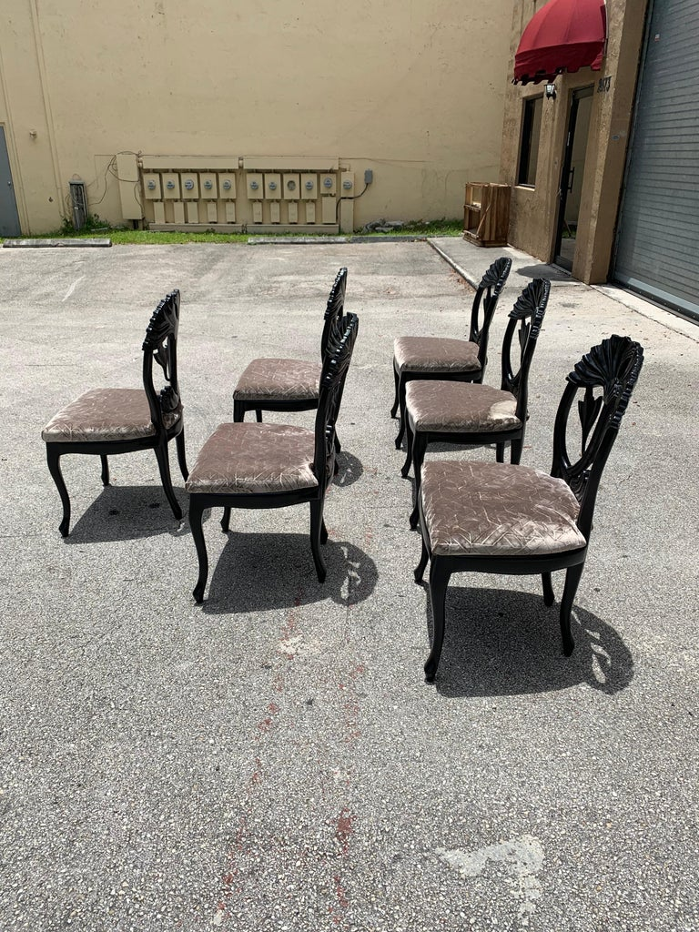 Velvet Set of 6 French Mid-Century Modern Dining Chairs, 1960s For Sale