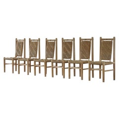 Set of 6 French Mid Century Naturalist Woven Highback Chairs in Solid Elm, 1960s