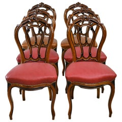 Set of 6 French Napoleon III Dining Chairs in Mahogany with Upholstery