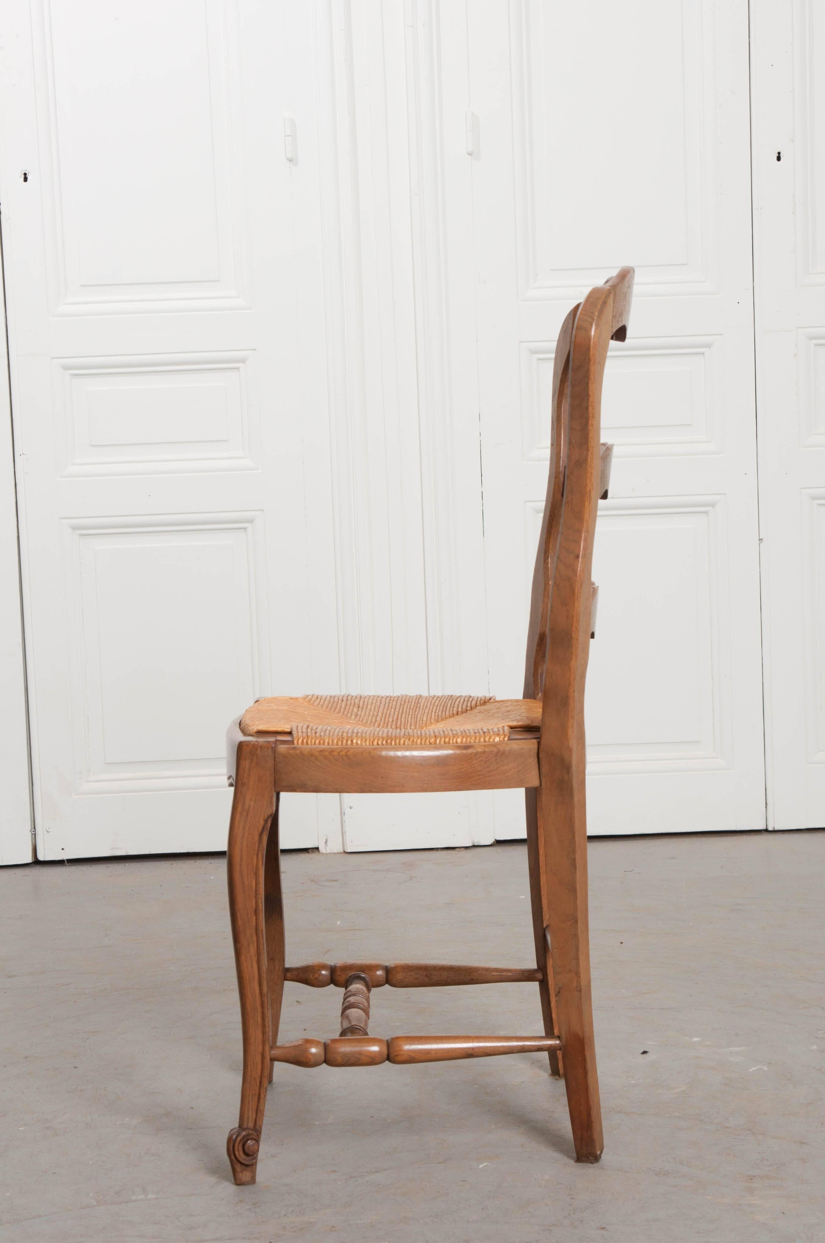 Set Of Six French Oak Ladder Back Chairs With Rush Seats For Sale 3