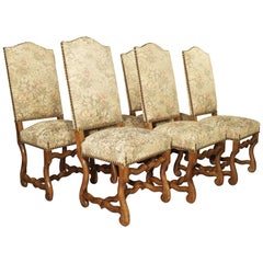 Set of 6 French Os De Mouton Side Chairs in Carved Beech