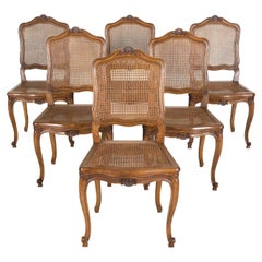 Set of 6 French Provencal Louis XV Style Cane Dining Side Chairs in Walnut