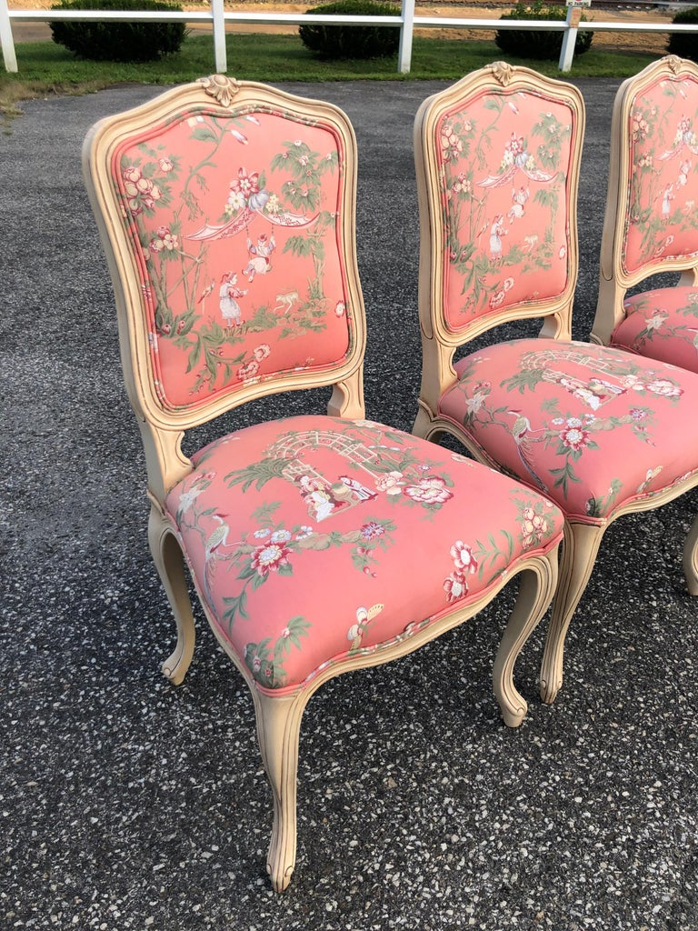 Set of 6 French Provincial Chairs with Chinoiserie Upholstery For Sale 8