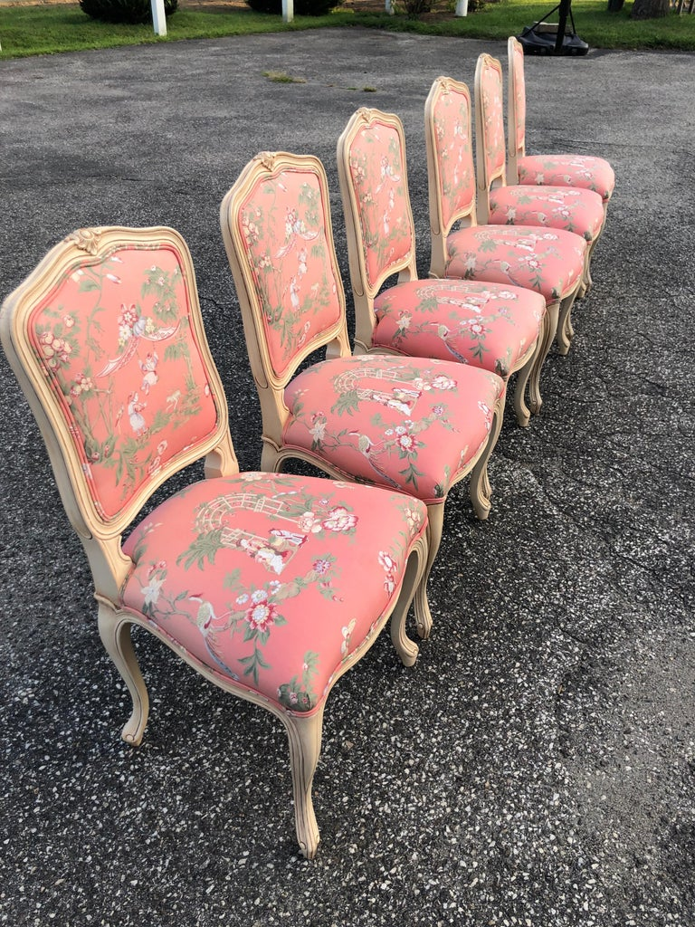 Set of 6 French Provincial Chairs with Chinoiserie Upholstery For Sale 10