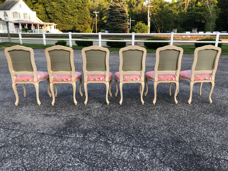 Set of 6 French Provincial Chairs with Chinoiserie Upholstery For Sale 15