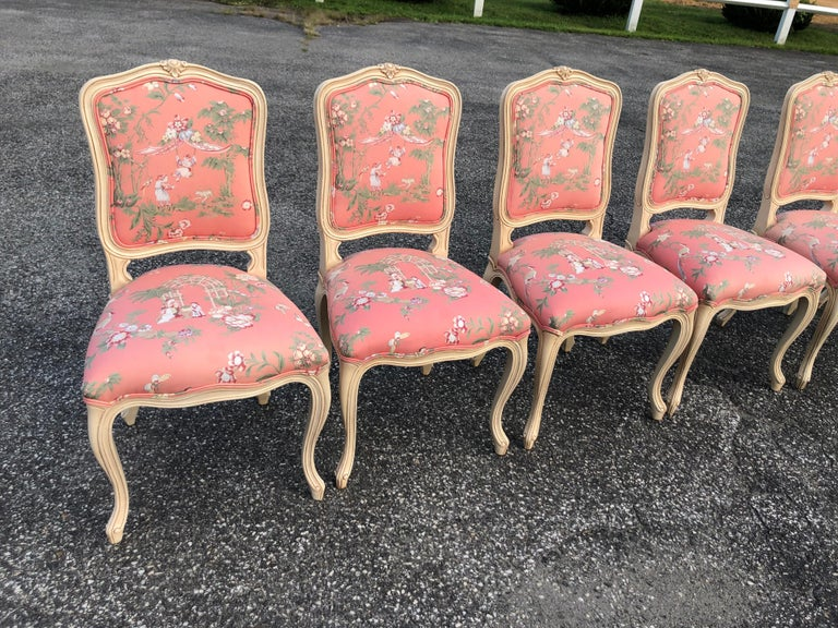 Set of 6 French Provincial Chairs with Chinoiserie Upholstery In Good Condition For Sale In Redding, CT
