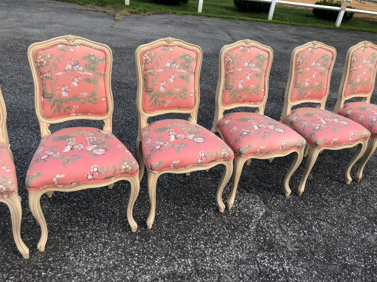 Late 20th Century Set of 6 French Provincial Chairs with Chinoiserie Upholstery For Sale
