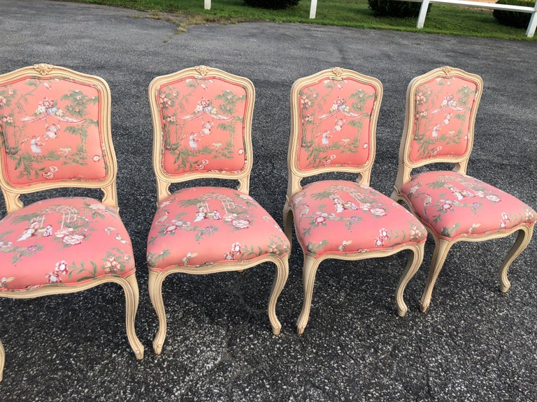 Set of 6 French Provincial Chairs with Chinoiserie Upholstery For Sale 1
