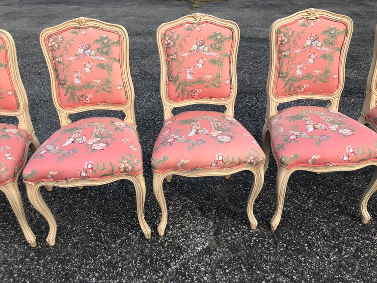 Set of 6 French Provincial Chairs with Chinoiserie Upholstery For Sale 3
