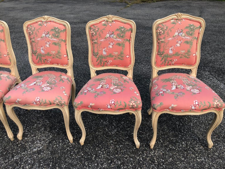 Set of 6 French Provincial Chairs with Chinoiserie Upholstery For Sale 4