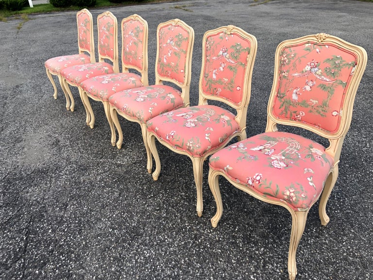 Set of 6 French Provincial Chairs with Chinoiserie Upholstery For Sale 5