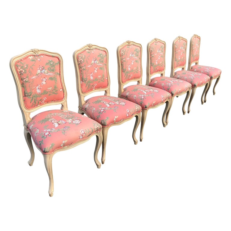 Set of 6 French Provincial Chairs with Chinoiserie Upholstery For Sale