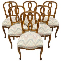 Set of 6 French Provincial Style Pretzel Back Spiral Carved Dining Chairs
