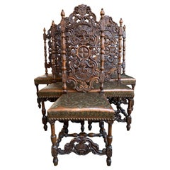 Set of 6 French Renaissance Carved Oak Dining Chair Embossed Leather Tall