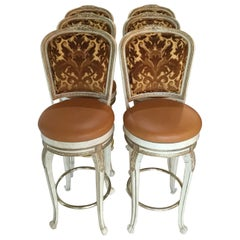 Set of 6 French-Style Painted Swivel Bar Stools
