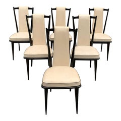 Set of 6 French Vintage Macassar Ebony Dining Chairs