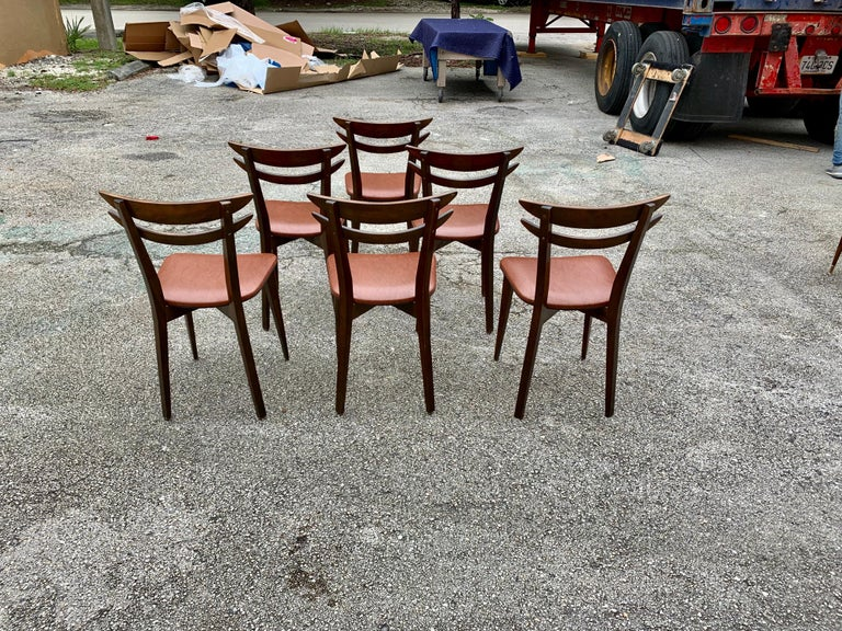 Set of 6 French Vintage Mid-Century Modern Solid Mahogany Dining Chairs, 1950s For Sale 7