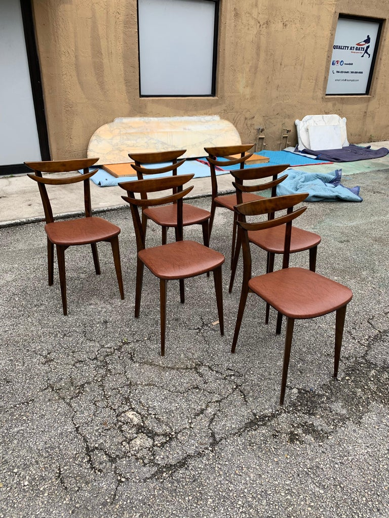 Set of 6 French Vintage Mid-Century Modern Solid Mahogany Dining Chairs, 1950s For Sale 8