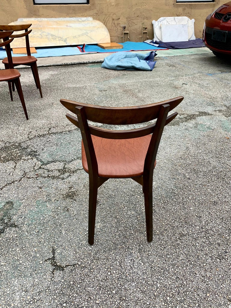 Set of 6 French Vintage Mid-Century Modern Solid Mahogany Dining Chairs, 1950s For Sale 9