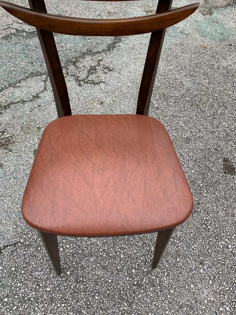 Set of 6 French Vintage Mid-Century Modern Solid Mahogany Dining Chairs, 1950s For Sale 11