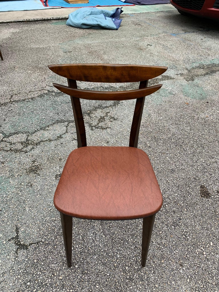 Set of 6 French Vintage Mid-Century Modern Solid Mahogany Dining Chairs, 1950s For Sale 12