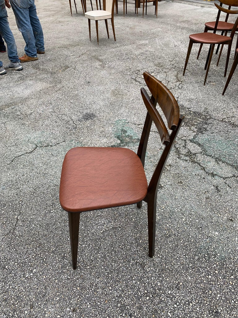 Set of 6 French Vintage Mid-Century Modern Solid Mahogany Dining Chairs, 1950s For Sale 13