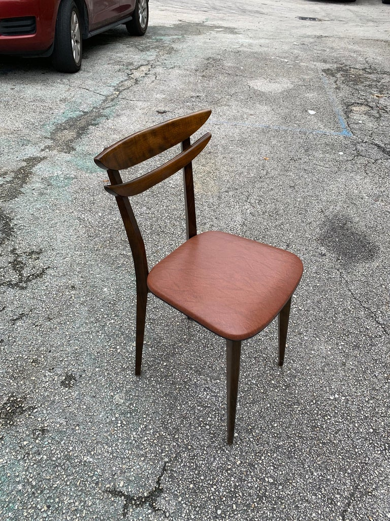 Set of 6 French Vintage Mid-Century Modern Solid Mahogany Dining Chairs, 1950s For Sale 14