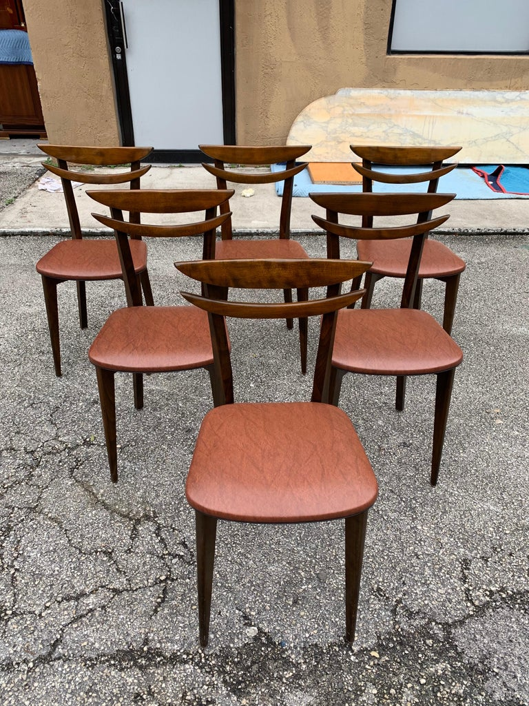 Mid-20th Century Set of 6 French Vintage Mid-Century Modern Solid Mahogany Dining Chairs, 1950s For Sale