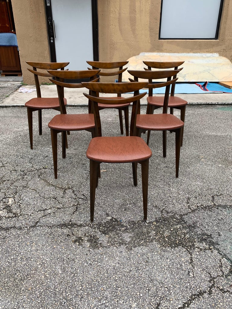 Set of 6 French Vintage Mid-Century Modern Solid Mahogany Dining Chairs, 1950s For Sale 1