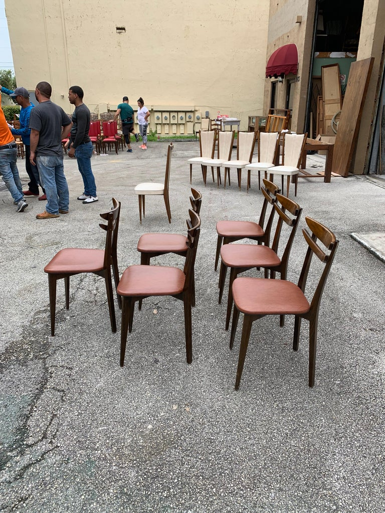 Set of 6 French Vintage Mid-Century Modern Solid Mahogany Dining Chairs, 1950s For Sale 3