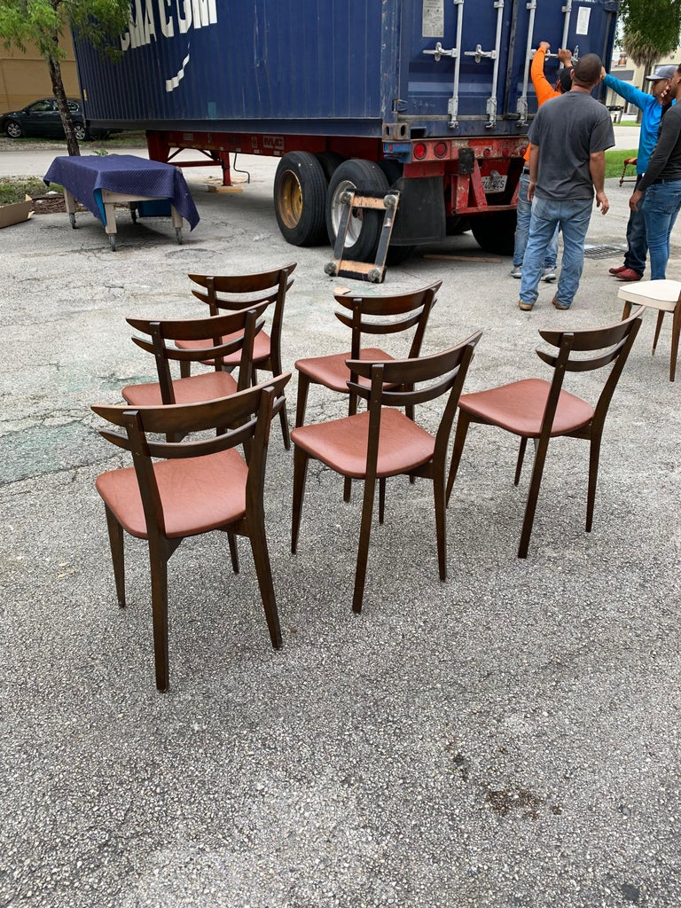 Set of 6 French Vintage Mid-Century Modern Solid Mahogany Dining Chairs, 1950s For Sale 4