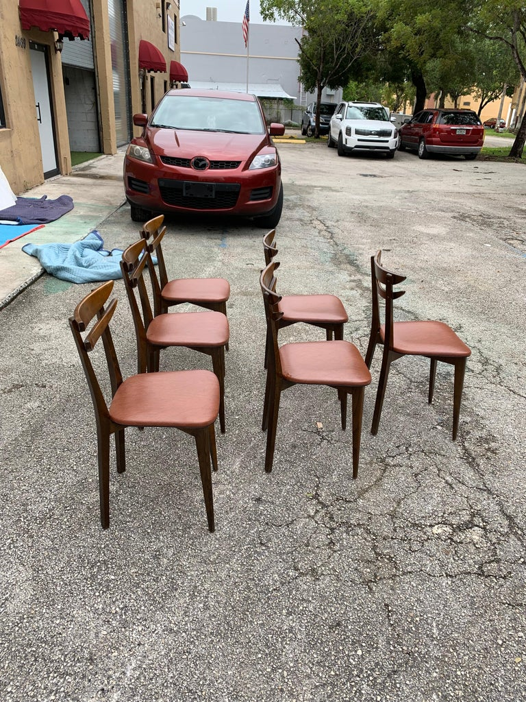 Set of 6 French Vintage Mid-Century Modern Solid Mahogany Dining Chairs, 1950s For Sale 5