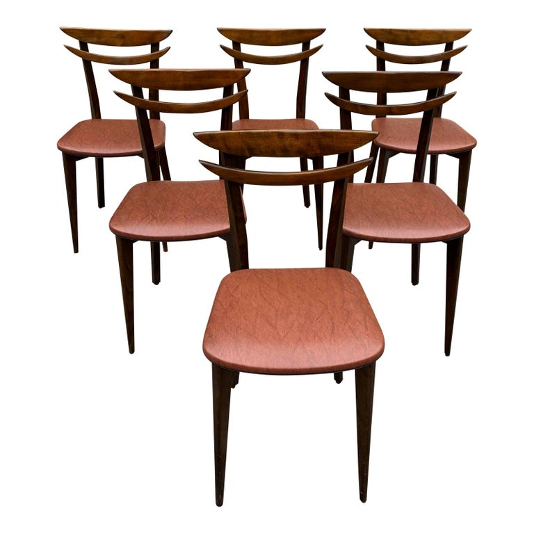 Set of 6 French Vintage Mid-Century Modern Solid Mahogany Dining Chairs, 1950s For Sale