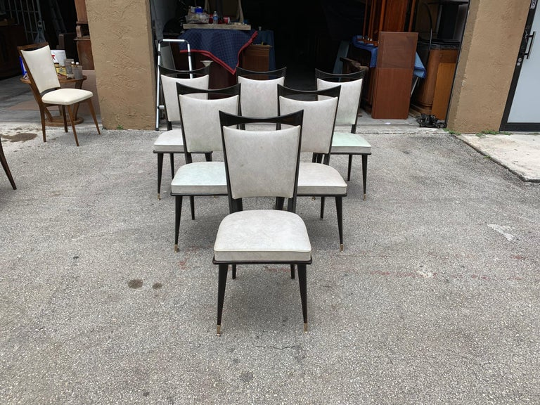 Set of 6 French Vintage Solid Mahogany Dining Chairs, 1940s 5