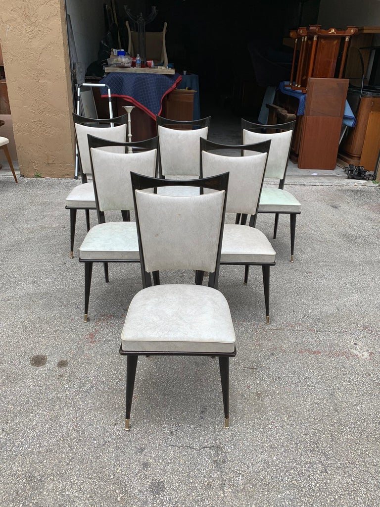 Set of 6 French Vintage Solid Mahogany Dining Chairs, 1940s 6
