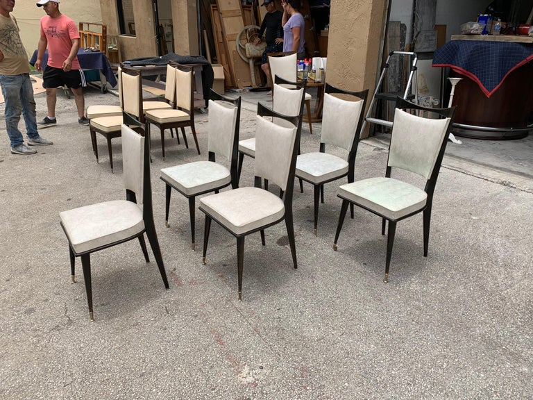Mid-Century Modern Set of 6 French Vintage Solid Mahogany Dining Chairs, 1940s